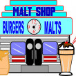 Retro malt shop illustration on white — Stock Photo