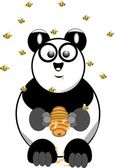 Panda bear with beehive — Stock Vector