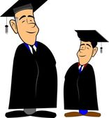 Father and son graduates — Stock Vector