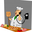 Pizza chef on phone — Stock Vector