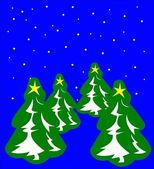 Christmas trees on blue background — Stock Vector
