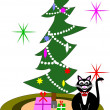 Stok Vektör: Vector illustration - christmas cat greeting