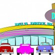 图库矢量图片: Vector illustration - dels drive inn retro style over white