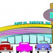 Vecteur: Vector illustration - dels drive inn retro style over white