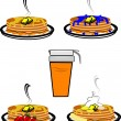 Vector illustration - stacks of pancakes with fruit - Stock Vector