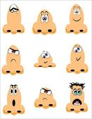 Vector illustration - noses in cartoon style with various expressions — Stock Vector