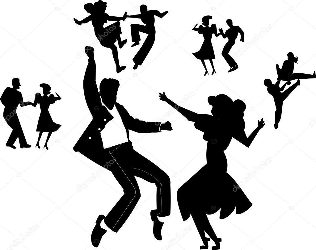 Télécharger - Danseurs de rock and roll — Illustration #19186315 Rock Band Silhouette