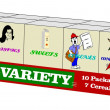 Variety pack of cereals — Stock Photo