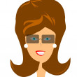 Retro lady in sunglasses - Stock Vector