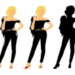 Fifties chicks in 3 styles — Stock Vector