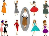 Fifties fashions — Stock Vector