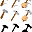 Hammers in various styles — Stock Vector
