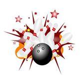 それは概念をボウリングでの爆発でストライク — ストック写真