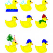 Rubber duck set — Stock Vector