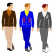 Men in cardigan sweaters from fifties  — Stock Vector