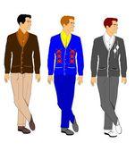 Men in cardigan sweaters from fifties — Stock Vector