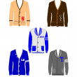 Varsity sweaters in various styles — Stock Vector