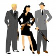 Gangsters in action — Stock Vector #35013711