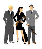 Gangsters in action — Stock Vector