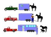 Horse trailer and horses with cowboys and trucks — Stock Vector