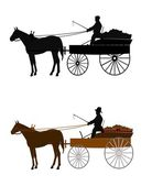 Man on vintage buckboard wagon — Stock Vector