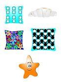Funky design pillows — Stock Vector