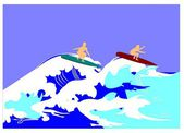 Surfers riding the wave — Stock Photo