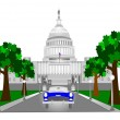 Stock Vector: Retro capitol building in dc
