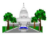 Retro capitol building in dc — Stock Vector