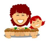 Mom and daughter making muffins — Vector de stock