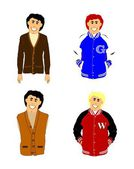 Varsity retro boys wearing school attire — Stock Vector