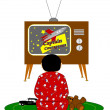 Постер, плакат: Boy watching tv