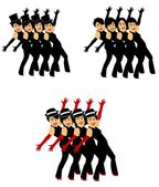 Chorus line dancers — Stock Vector