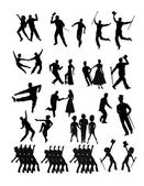Dancers collection in silhouette — Stock Vector