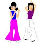 Girls dancing in bell bottom pants — Stock Vector