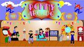 Penny arcade background — Stock Photo