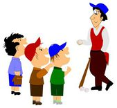 Ball players and coach — Stock Photo