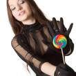 Gothic girl witl lollipop — Stock Photo