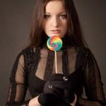 fille gothique avec sucette — Photo