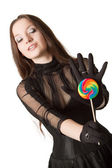 Lollipop witl ragazza gotica — Foto Stock