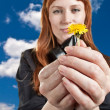 Stock Photo: Girl with dandelion