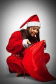 Santa con saco de navidad — Foto de Stock