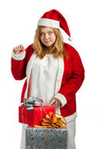 Santa helper with gifts — Stock Photo