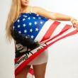Pretty young woman with american flag — Stock Photo #20195133
