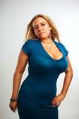 Seductive lady in blue — Stock Photo