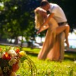 Wedding flowers bouquet on the grass — Stock Photo