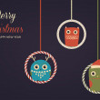 Hanging christmas owls. Vector xmas card — Stock Vector