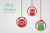 Hanging christmas owls. Vector xmas card — Stock Vector
