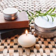 Spa still life with soap and candle — Stock Photo