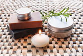 Spa still life with soap and candle — Stock fotografie